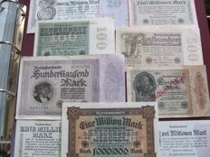 Original lot of 61 banknotes, banknotes from the interwar period of World War I and II, extreme millions, various old banknotes & 50 pictures