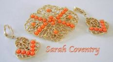 Signed SARAH COVENTRY – Demi parure – Brooch and earrings set.