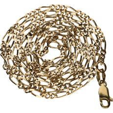 14 kt – Yellow gold, Figaro link necklace – Length: 62 cm