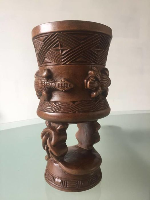 Incense burner, 2nd half 20th century, carved wood w crocodiles/frog