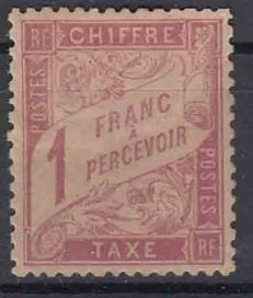 "France 1893 - Tax stamp type ""banderolle de duval"" Yvert 34 pink on straw"