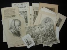 Various makers - Lot consisting of approx. 17 old prints-17th/18th/19th/20th century.