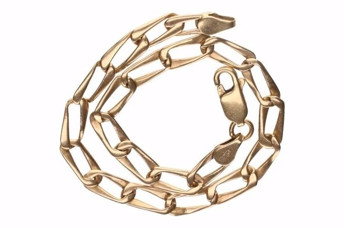 Yellow gold 14 kt curb link bracelet – Length: 19 cm