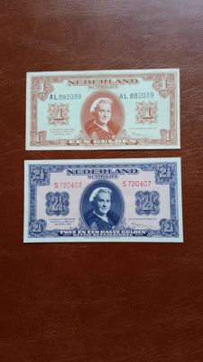 Netherlands - 1 and 2 ½ guilder 1945 - mevius 06-1b and 15-1a