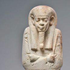 An Egyptian Faience Ushabti for Ij-iir-s - H. 14.6 cm (5 3/4 inches)