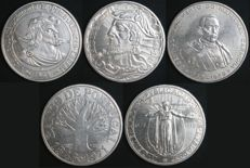Portugal - Complete Collection of 50 Escudos Coins in 650 SILVER, average finish - 1968 to 1972 - Portuguese Republic - AG: 63.01 to 67.01 – Uncirculated – FDC – Exceptional Collection