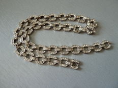 Solid silver necklace set with white stones