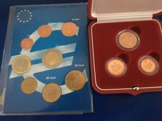 Monaco – Year pack 2001 – 1 cent to 2 euro UNC and Monaco 1, 2 and 5 cent, set 2005 Proof.
