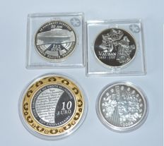 France – 1½, 10 Euro coins, 2006-2009 (4 different) – silver