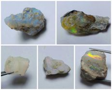 Rough gem crystal opals - various sizes - 35.6 ct (5)