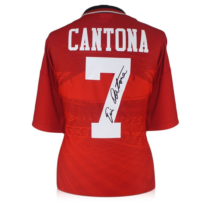Eric Cantona - Original signed Manchester United home shirt 1994/1996 + COA inc Photoproof.
