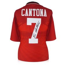 Eric Cantona - Original Hand signed Manchester United shirt '90 + COA inc Photoproof.
