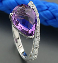 Amethyst-brilliant-ring 3.75 ct in 750 white gold *NO RESERVE PRICE!*