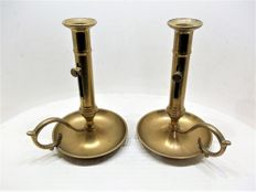 A pair of beautiful antique French Slide-candlesticks of bronze