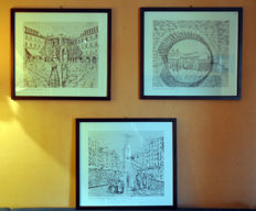 Emilia Rizzi - Three lithographs of Verona