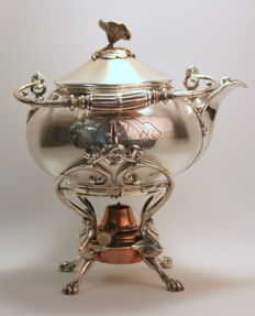 Christofle - Antique 19th Century silver plate tea kettle with stand and brass burner, Circa.1880