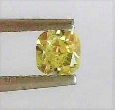 Fancy VIVID Yellow Cushion Cut  - 0.60 carat  - VS2 clarity  - Natural Diamond  Comes With IGL Certificate + Laser Inscription On Girdle