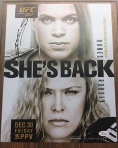 Original poster signed by NUNES of the UFC fight between AMANDA NUNES and RONDA ROUSEY with JSA / LOA certificate