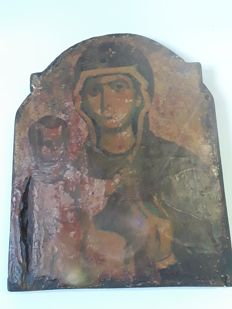Antique icon on wood - Holy Mother Mary with a child - Athens