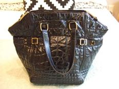 Yves Saint Laurent - Black Patent Croc Leather Sac Downtown Tote Bag