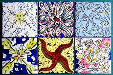 Salvador Dali - Set of 6 original tiles - Signed 1954