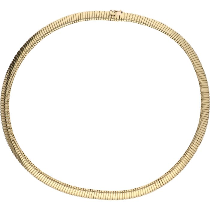 14 kt Yellow gold flexible, stretchy snake link necklace - Length: 39.5 cm