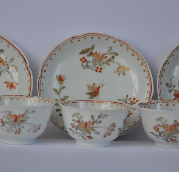 Three cups and saucers, 'milk & blood' – China – 18th century, Yongzheng