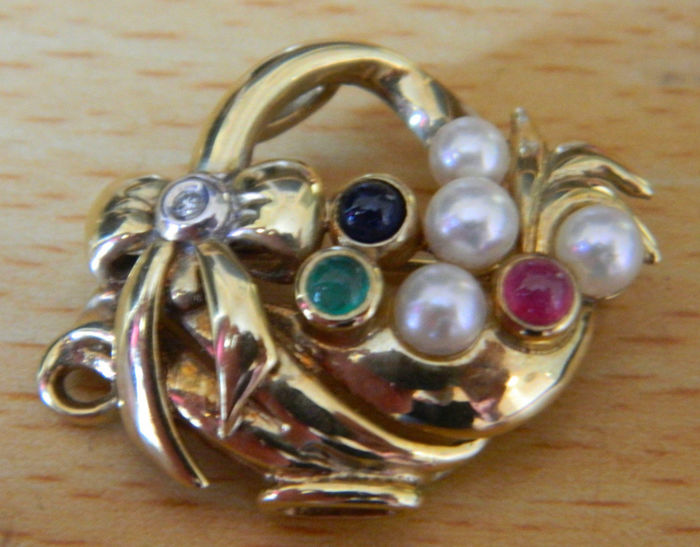 Flower basket brooch with natural Akoya pearls, ruby, emerald, sapphire and diamond brilliant made of 375 / 9 kt gold