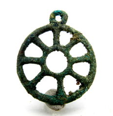 """Ancient Roman bronze open work pendant shaped as wheel - """"the Wheel of Fortune"""" - 35 mm"""