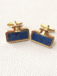 Vintage Gilt Lapis Lazuli Gemstone men's cuff links ca.  1970