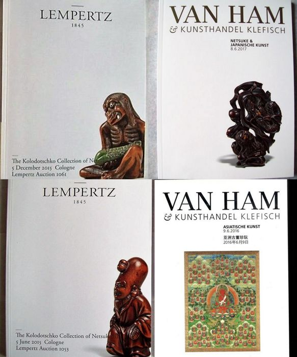 Lempertz Auction Cologne - The Kolodotschko Collection of Netsuke Part III - IV & 2 catalogues Van Ham Auction Cologne Netsuke collections.