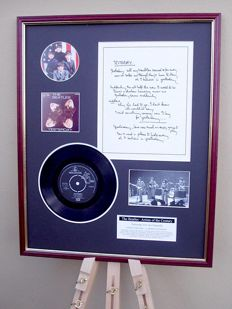 "The Beatles Yesterday original handwritten lyrics display / 7"" vinyl record display"
