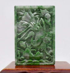Vintage grade 'A' hand carved jadeite piece with a crane bird, ca: 1920's