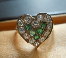 Gold 1 ct Diamond and Emeralds fancy heart shaped Ring, second part of 20th century