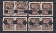Italy 1930 – Aegean – 21st Hydrology Congress – Variation (overturned overprint) – 8 stamps on 4 pairs – Sass.  No. 17h