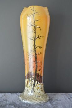 François-Théodore Legras (1839-1916) - glass enamelled vase with decoration of a landscape of a peasant returning to the village under the snow