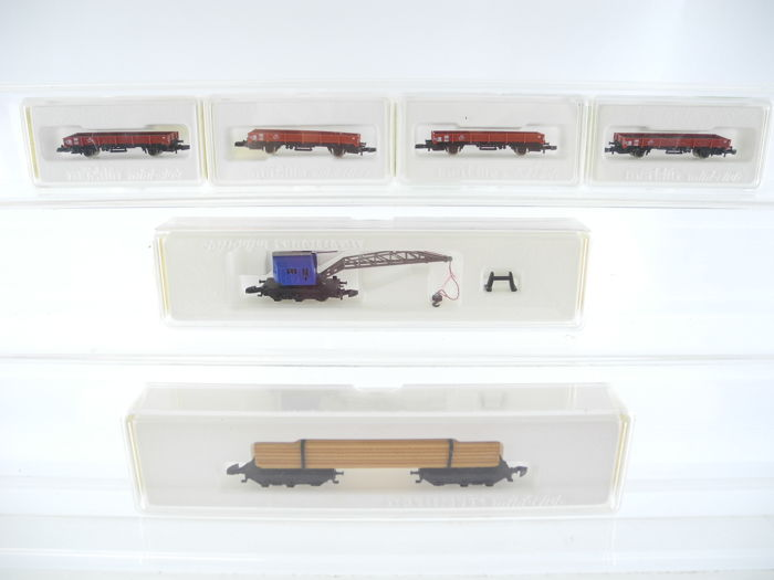 Märklin Z - 8621/8619/8610 - 6-piece freight train of the DB, including a crane carriage [255]