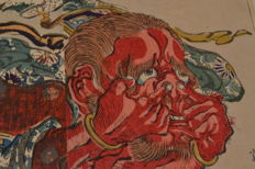 Original diptych by Kawanabe Kyosai (1831-89) – Dishevelled red demon – Japan – 1860