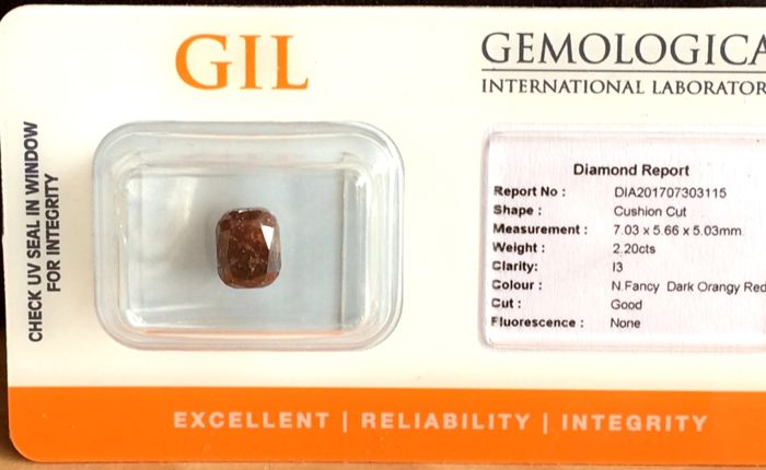2.20 ct - Cushion Cut -  Diamond Natural  Fancy Dark Orangy Red - G/G/VG - P3 - Untreated - No Reserve Price.