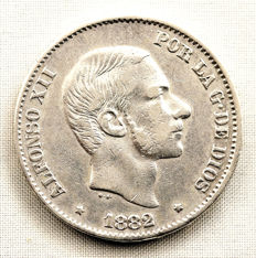 Spain - Alfonso XII - 1882 Variant about 1880 - 50 silver peso cents - 1882 - Manila.
