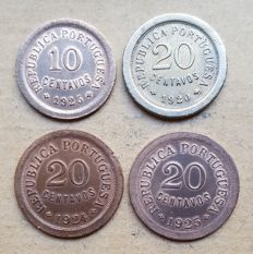 Portuguese Republic – 4 coins – 10 centavos 1925 – Pair of 20 Centavos 1924 & 1925 – 20 Centavos 1920 . Above Average