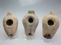 Byzantine terracotta decorated oil lamps - 10 cm (3)