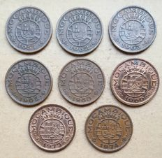 Mozambique / Republic – 8 coins – Set of 1 Escudo 1957, 1962, 1963, 1965, 1968, 1969, 1973 & 1974