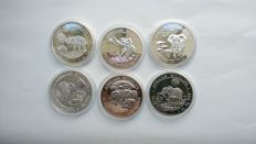 Somalia - 100 Shillings 2011/2017 'Elephant' (lot of 6 different coins) - 6 x 1oz Silver