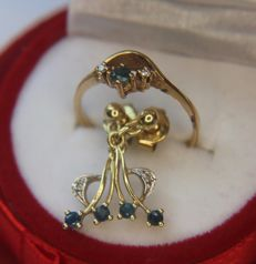 Golden set: gold Ring + 14kt. gold Earrings in a floral design with small Sapphires and Diamonds