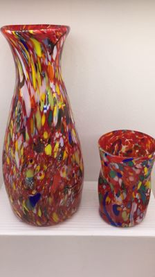 Murano - glass carafe and cup set with murrine