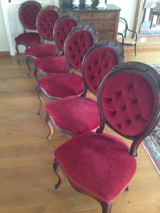 A set of six Louis XV style mahogany chairs - late 19th century