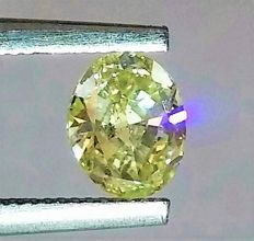 Natural Fancy Intense Yellow - 0.68 Carat - Oval Cut Diamond - SI1 clarity - IGL certified - Laser Inscripted .