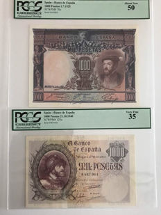 Spain - 2 x 1000 pesetas 1925 and 1940 - Pick 70c and 125a