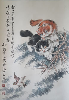 Hand-painting scroll painting《孙菊生-猫》 - China - late 20th century